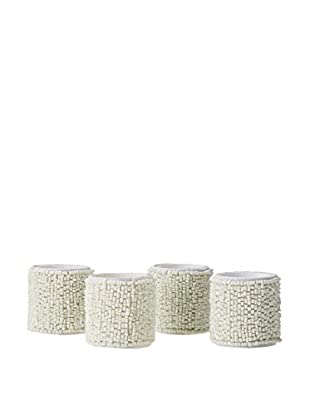 KAF Home Set of 4 Beaded Napkin Rings, Ivory
