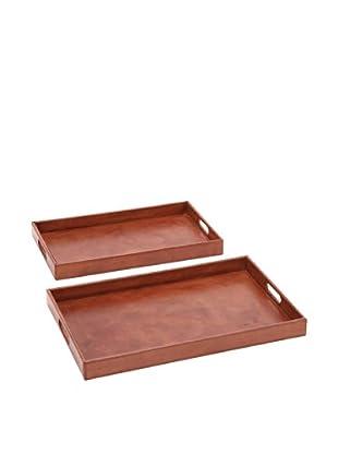 Set Of 2 Leather Rectangular Trays