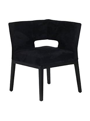 Armen Living Microfiber Corner Chair, Black