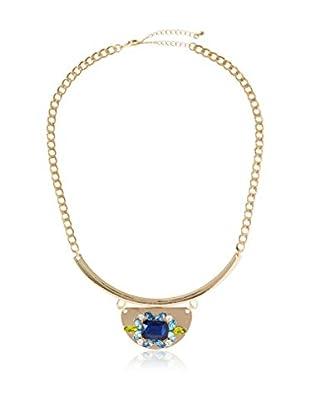 Bijou Double Crystal Gold Pendant Necklace