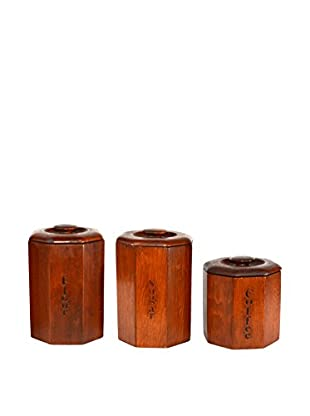 Uptown Down Found Set of 3 Wooden Canisters