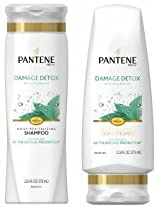 Pantene Pro-V Damage Detox - Daily Revitalizing Shampoo & Daily Rebuilding Conditioner - Net Wt. 12.6 FL OZ (375 mL) - One Set