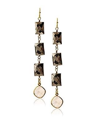 Gemelli Edge Pyrite and Moonstone Earrings