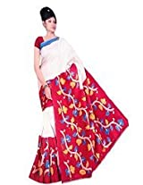 RoopSangam Stylish Red Color Printed Cotton Silk Saree(Daily And Party Wear)