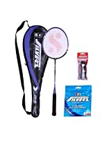 Set of Silver's Flex Power Badminton Racket with Cover, Pvc Grip & Sheep Badminton Gut - SIL1015