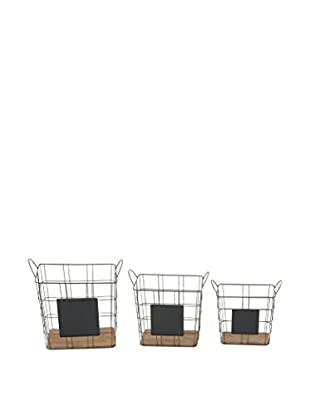 Set of 3 Metal & Wood Baskets, Natural