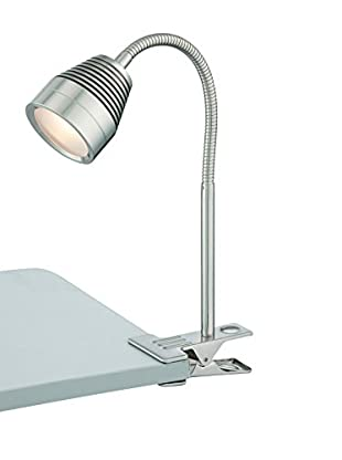 Lite Source Nobu 1-Light LED Clip-On Lamp, Polished Steel