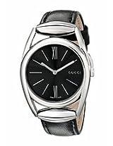 Gucci 139 Horsebit Black Dial Black Leather Ladies Watch Ya139401