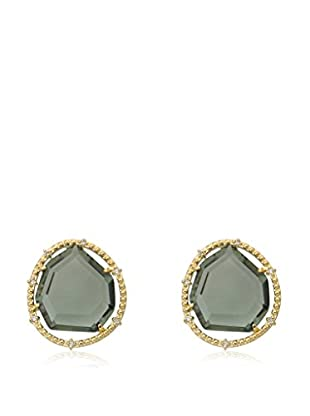 Riccova Sliced Black Glass Earrings with CZs