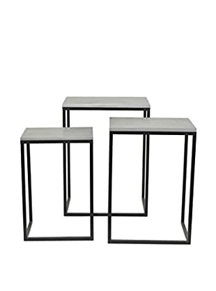 Three Hands Set of 3 Accent Tables, Grey