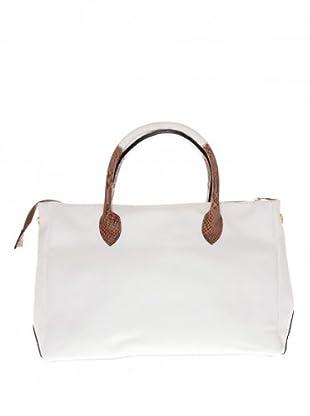 Elysa Tote-Bag mit Reptil-Details (Weiß)