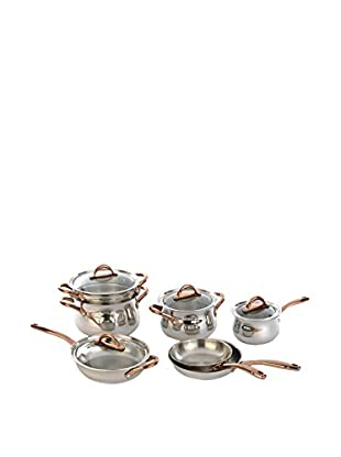 BergHOFF Ouro 11-Piece Stainless Steel Cookware Set with Rose Gold-Tone Handles