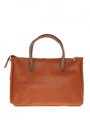 Elysa Tote-Bag mit Reptil-Details (Camel)
