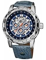 Akribos Automatic Skeleton Dial Blue Leather Mens Watch Ak557Bu