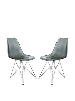 LeisureMod Set of 2 Cresco Molded Eiffel Side Chairs, Transparent Black