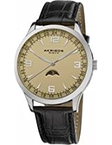 Akribos Champagne Dial Black Leather Mens Watch Ak637Ssw