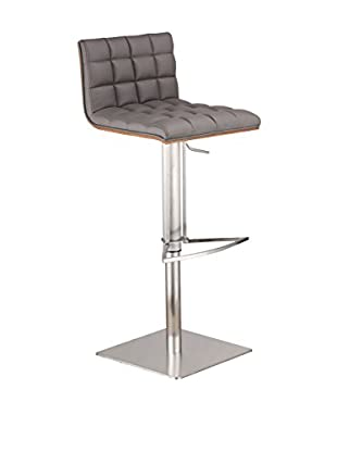 Armen Living Oslo Adjustable Brushed Stainless Steel Barstool with Walnut Back, Gray