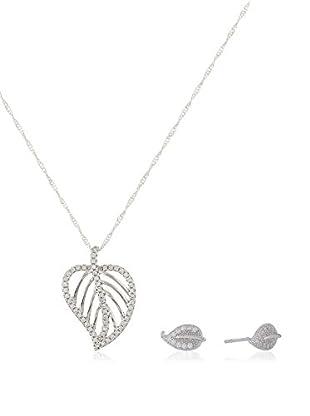 Cordoba Jewels Conjunto de cadena, colgante y pendientes  plata de ley 925 milésimas rodiada