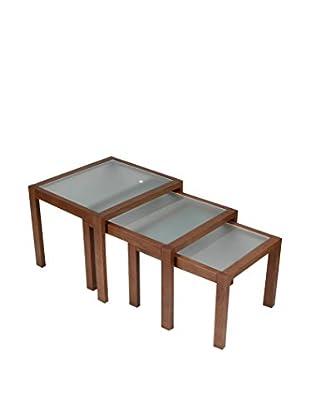 Modern Home Beistelltisch 3er Set walnuss/transparent