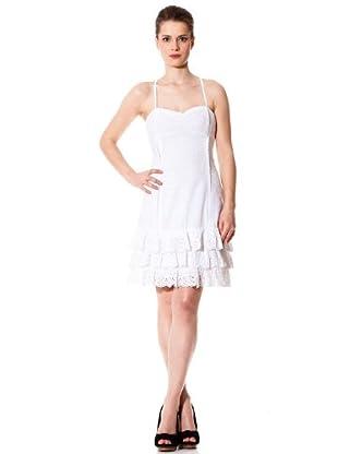 Naf Naf Vestido Calado (blanco)