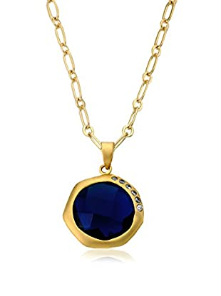 Riccova City Lights Faceted Blue Glass Pendant Necklace with CZs