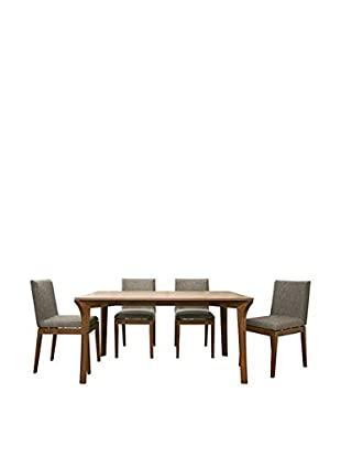 Baxton Studio Mier Brown 5-Piece Dining Set, Cocoa