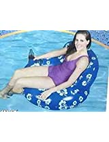 Comfy Inflatable Water Lounger with Cup Holder and Back Rest