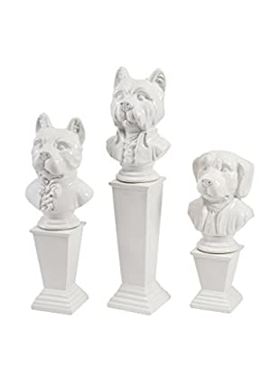 Set of Three Montclair Ceramic Dog Statues