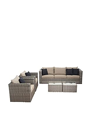 Atlantic Cincinnati 5-Piece Wicker Conversation Set with Cushions, Brown