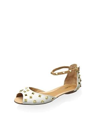 Schutz Women's Baldonera Ankle Strap Flat (White/Yellow Gold)