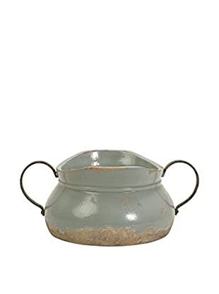 Calista Short Bowl with Metal Handles, Blue