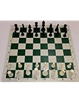 INTERNATIONAL CHESS SET- SOLID COINS + ROLL ON BOARD