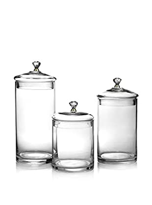 Jay Imports Glass Canisters With Gold Lids, Set Of 3, Clear/Gold