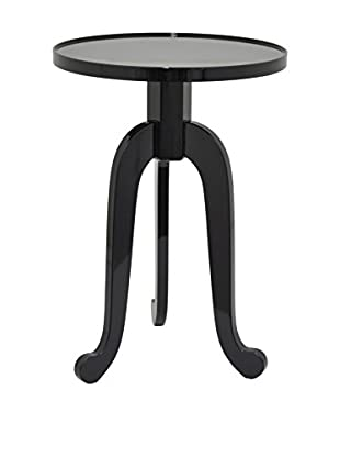 Three Hands Round Wood Accent Table, Black