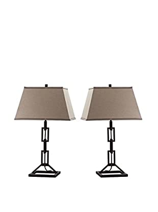 Safavieh Jamison 1-Light Set of 2 Table Lamps, Bronze/Natural