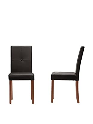 Baxton Studio Set of 4 Curtis Dining Chairs, Dark Brown