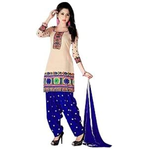 Cream And Blue Patiala Style Salwar Suit With Embroidery