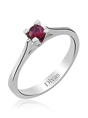Divas Diamond Anillo Rubí Solitario (Plata)