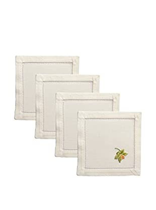 Henry Handwork Set of 4 Catherine Orchid Embroidered Cocktail Napkins, Ivory