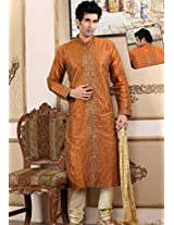 Dark Orange Raw Silk Embroidered Kurta with Churidar