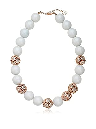 Riccova Country Chic Enamel Flower Bead Necklace with Crystals