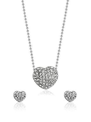 Shiny Cristal Conjunto de cadena y pendientes  plata de ley 925 milésimas rodiada / Blanco