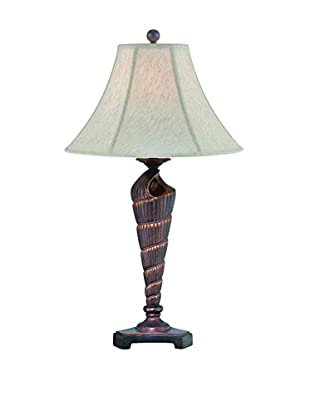 Lite Source Conch Table Lamp, Dark Bronze/Tropical Brushed Bronze/Off-White