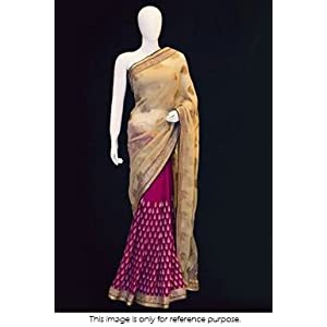 Bollywood Style Model Viscose and Georgette Saree In Golden and Pink Colour NC670