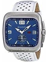 Gucci G Coupe Quartz Blue Dial Leather Strap Mens Watch Ya131304