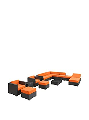 Modway Fusion 12-Piece Outdoor Patio Sectional Set (Espresso/Orange)