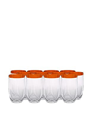 Artland Festival Set of 12 Highball Glasses, Tangerine