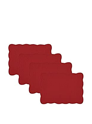 KAF Home Set of 4 Quilted Boutis Placemats, Red