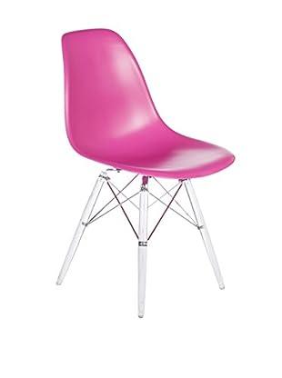 Control Brand The Mid-Century Eiffel Dining Chair, Clear/Dark Pink