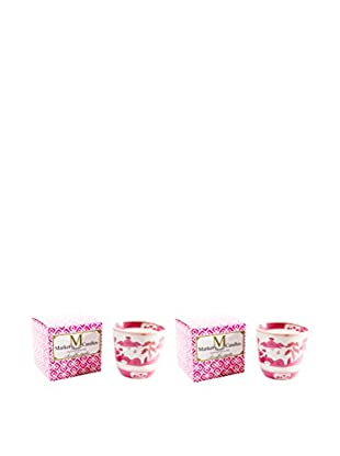 Market Street Candles Set of 2 Rose Scented Shanghai Pagoda Candles, Pink